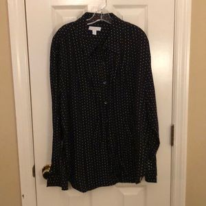 Women's Sz 16W Charter Club White polka dot BD Top